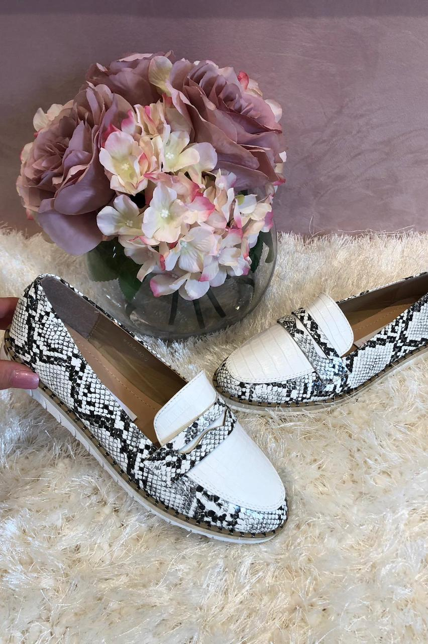 White Snake Loafers