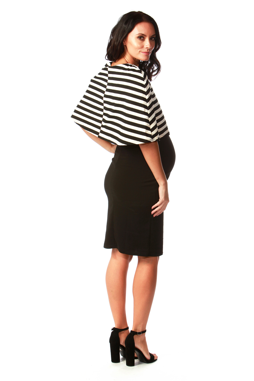 Maternity Monochrome Stripe Fiona Bodycon Dress
