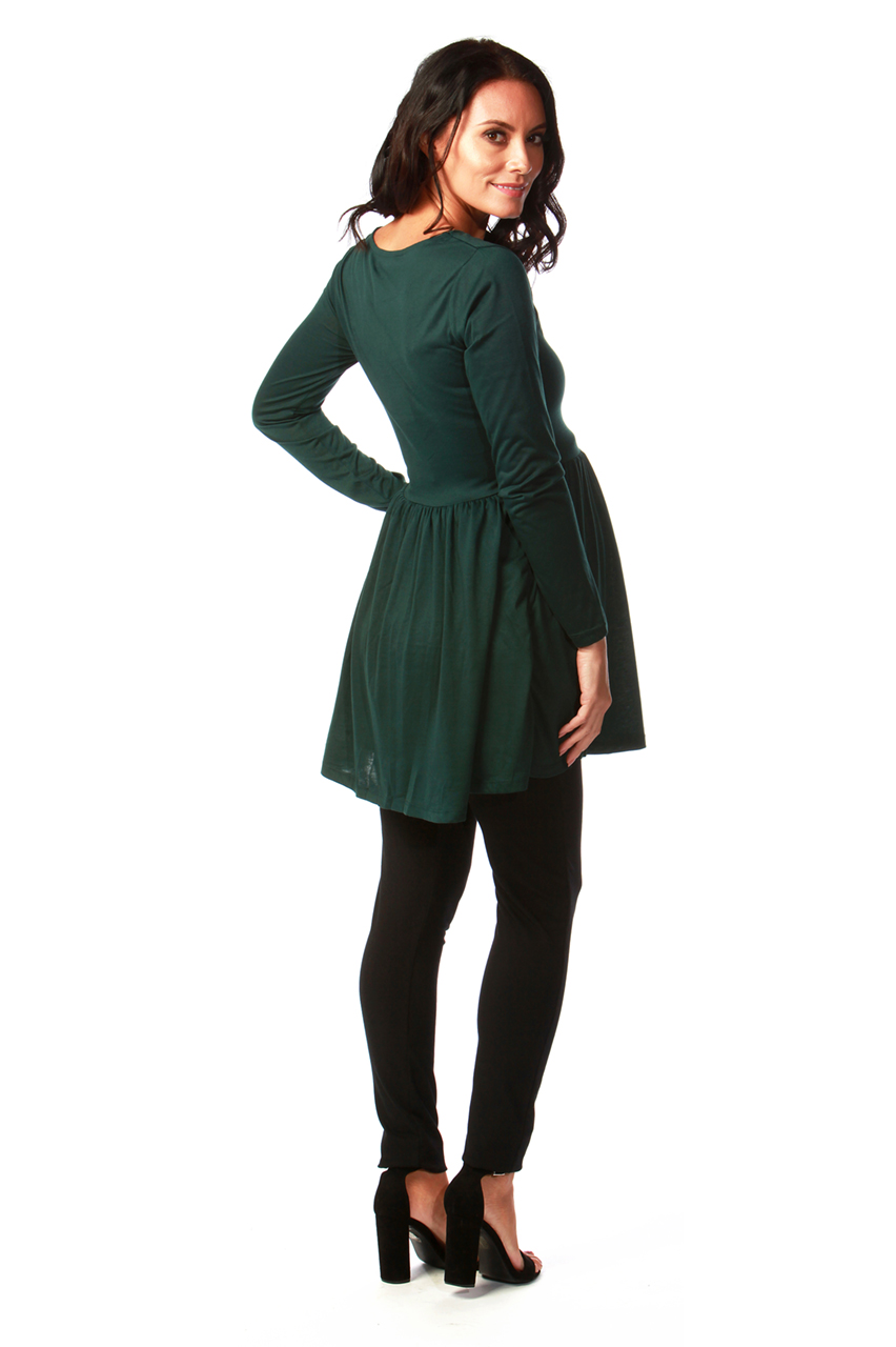 Maternity Tammy Green Tunic Dress with Lace Insert