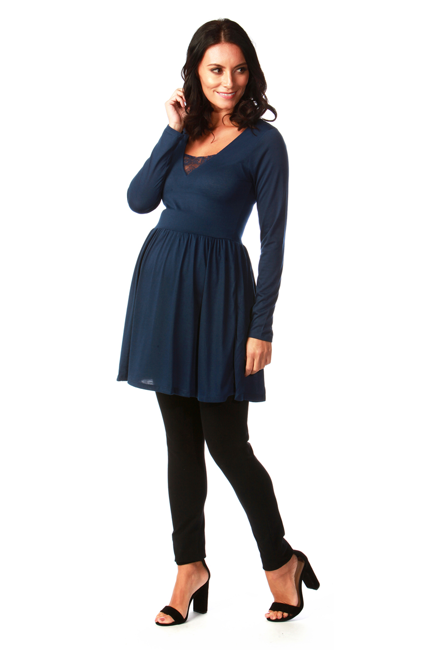 eef966a9ffc Maternity Tammy Navy Tunic Dress with Lace Insert - Want That Trend
