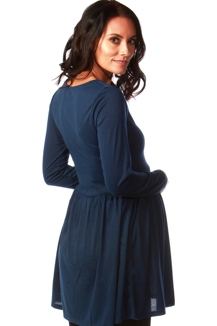 Maternity Tammy Navy Tunic Dress with Lace Insert