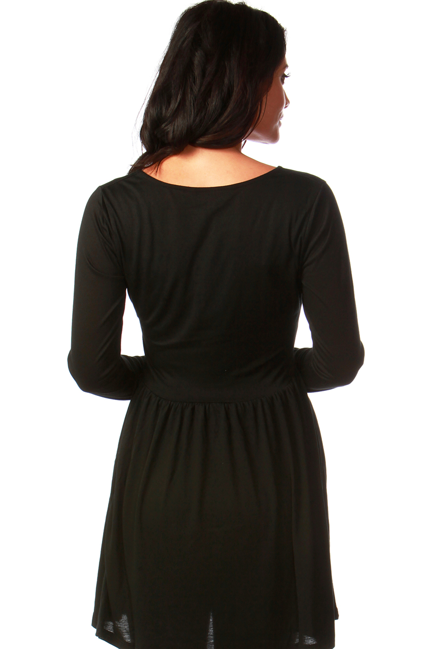 Maternity Tammy Black Tunic Dress with Lace Insert