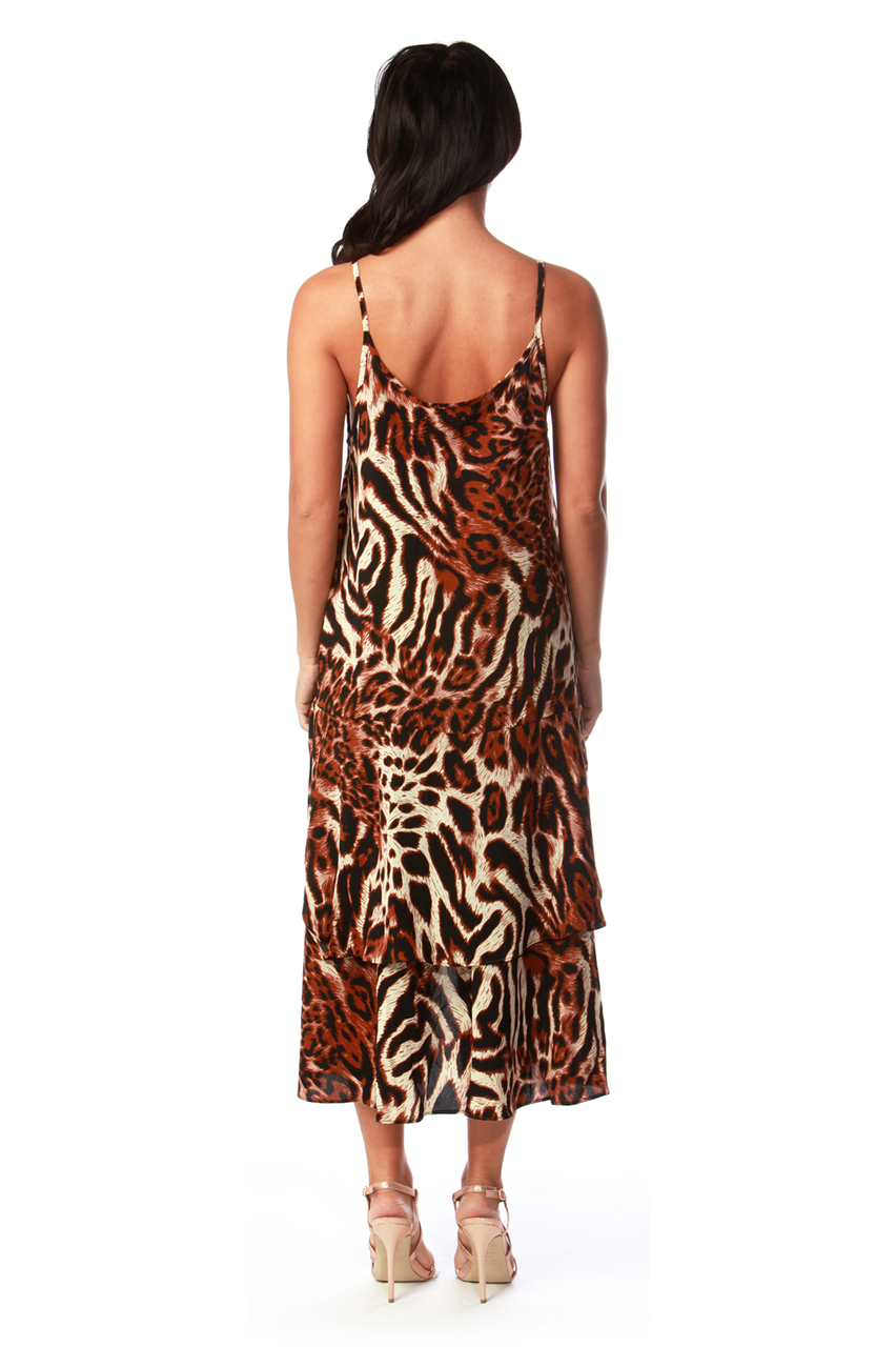 Brown Leopard Strappy Frill Dress