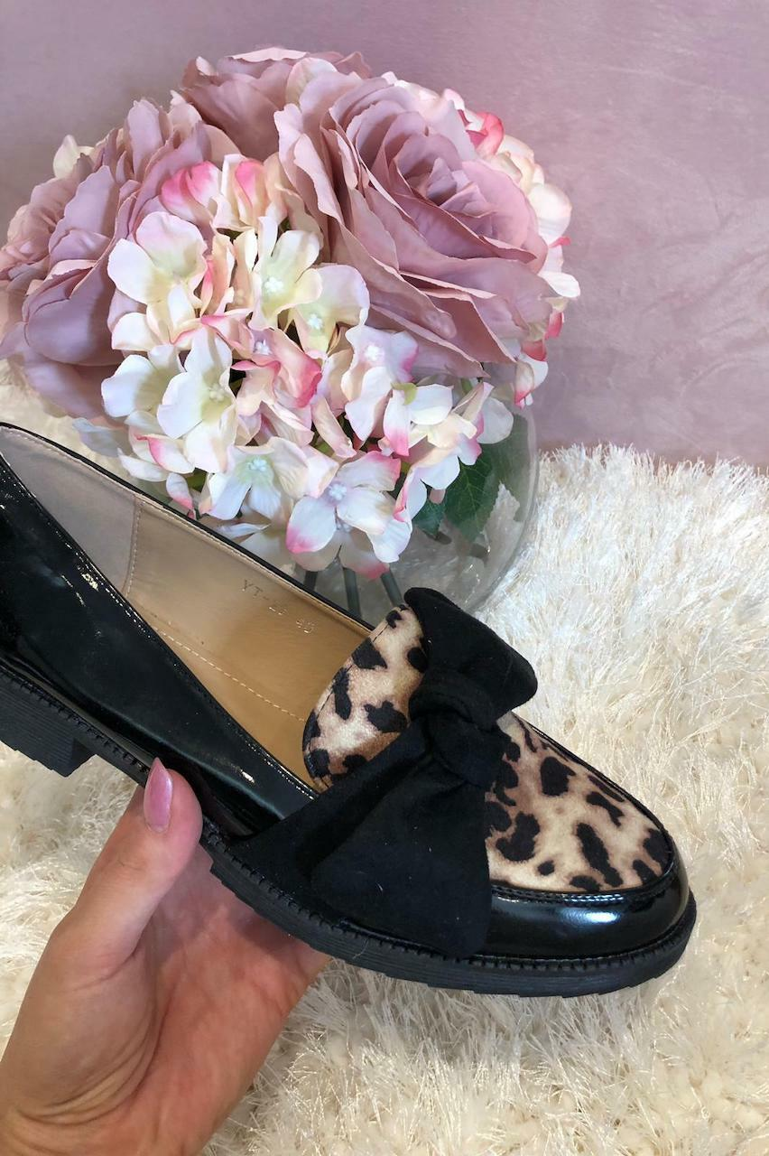 Black Leopard Loafers with Bow