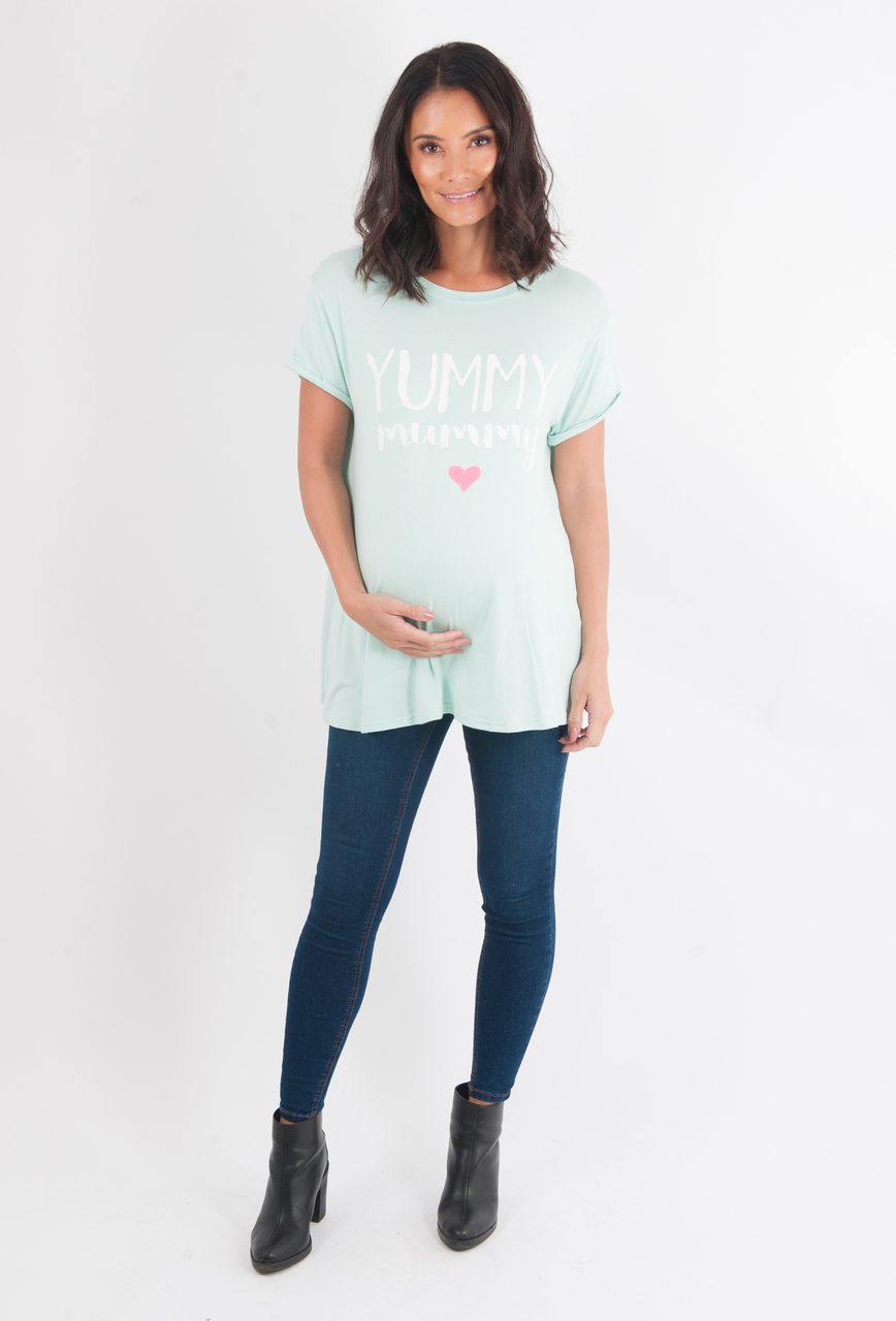 Maternity Green 'Yummy Mummy' Top