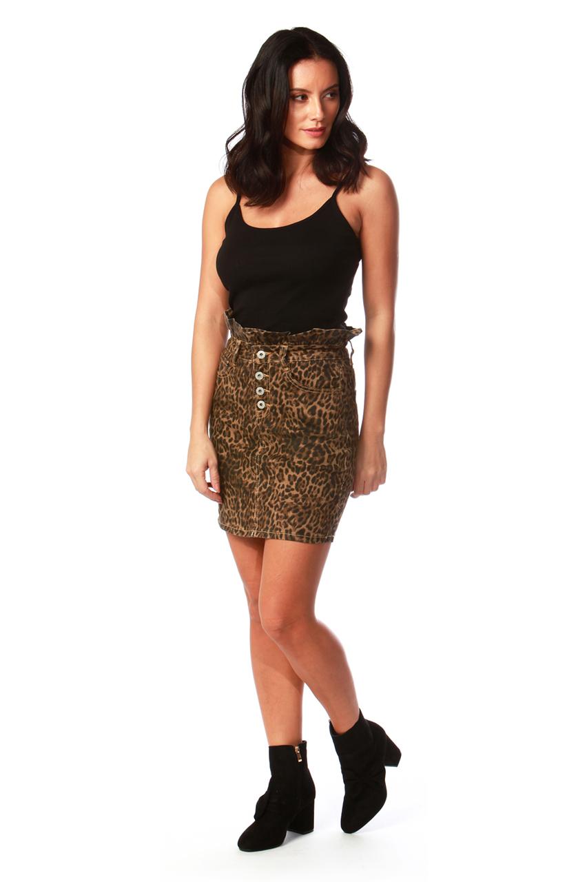 Leopard Ruffle Waist Skirt