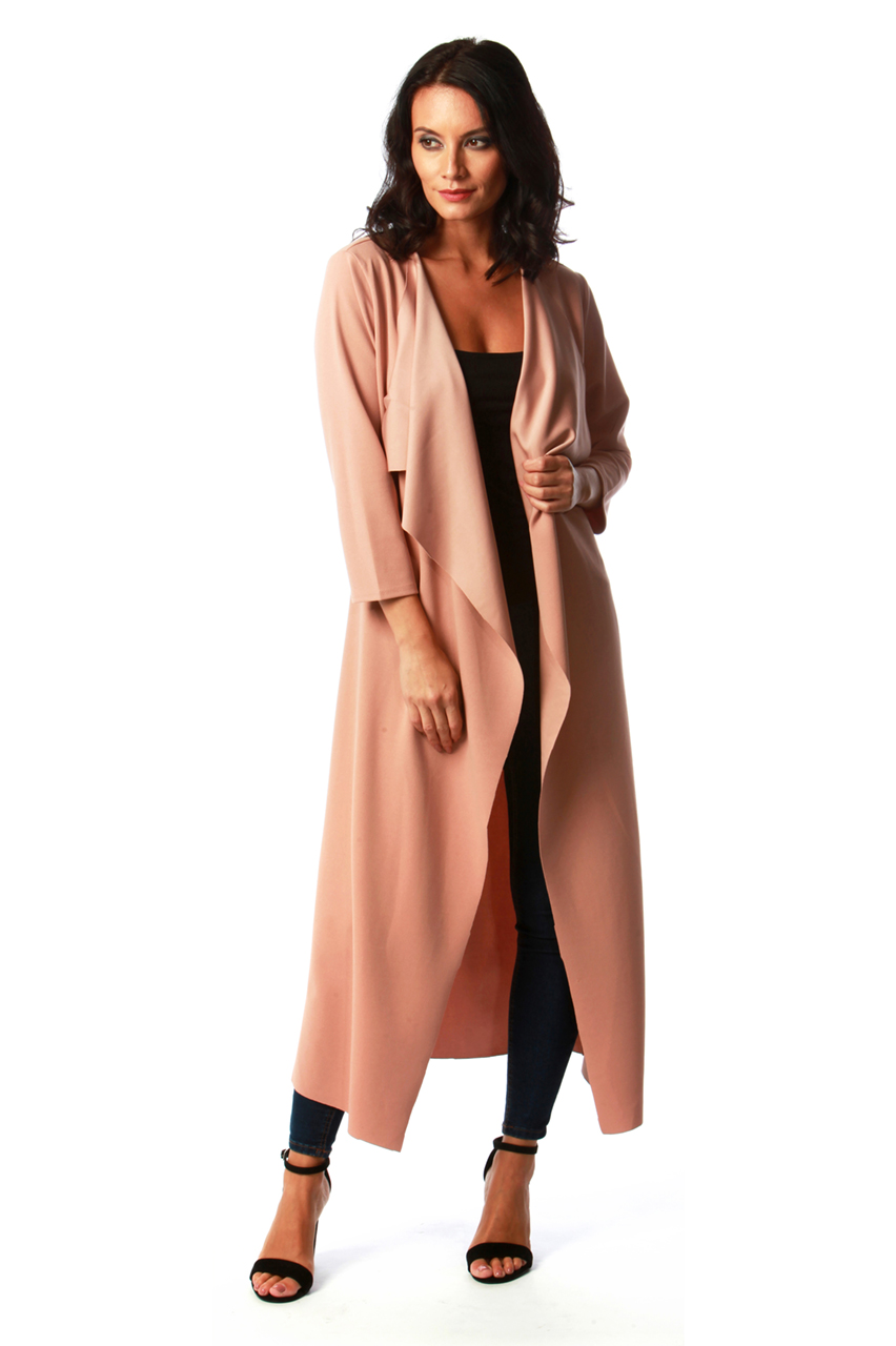 Dusky Pink Long Waterfall Jacket