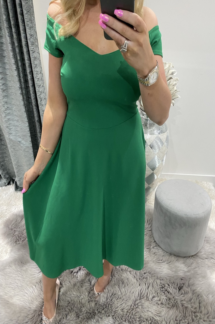 Alvera Green Skater Dress