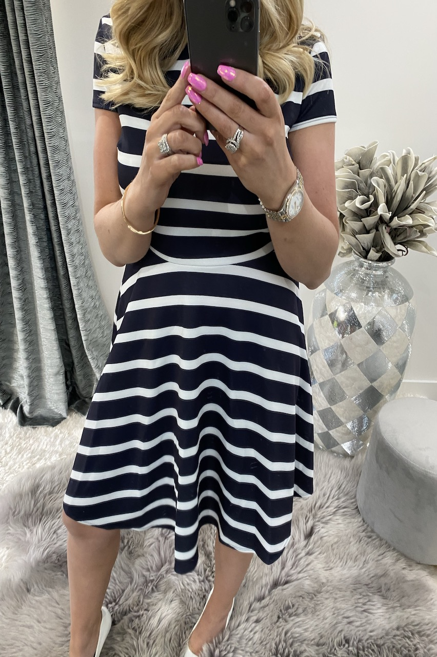 Navy Brady Stripe Cap Sleeve Skater Dress