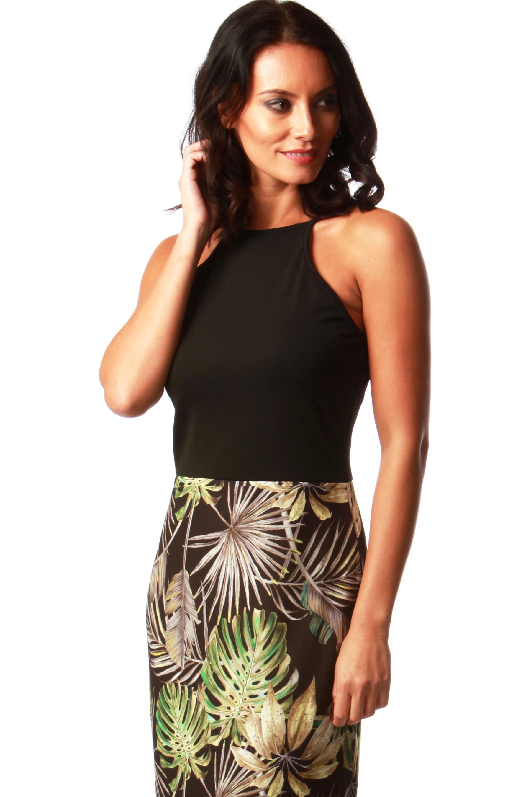 Black Tropical Maxi Dress