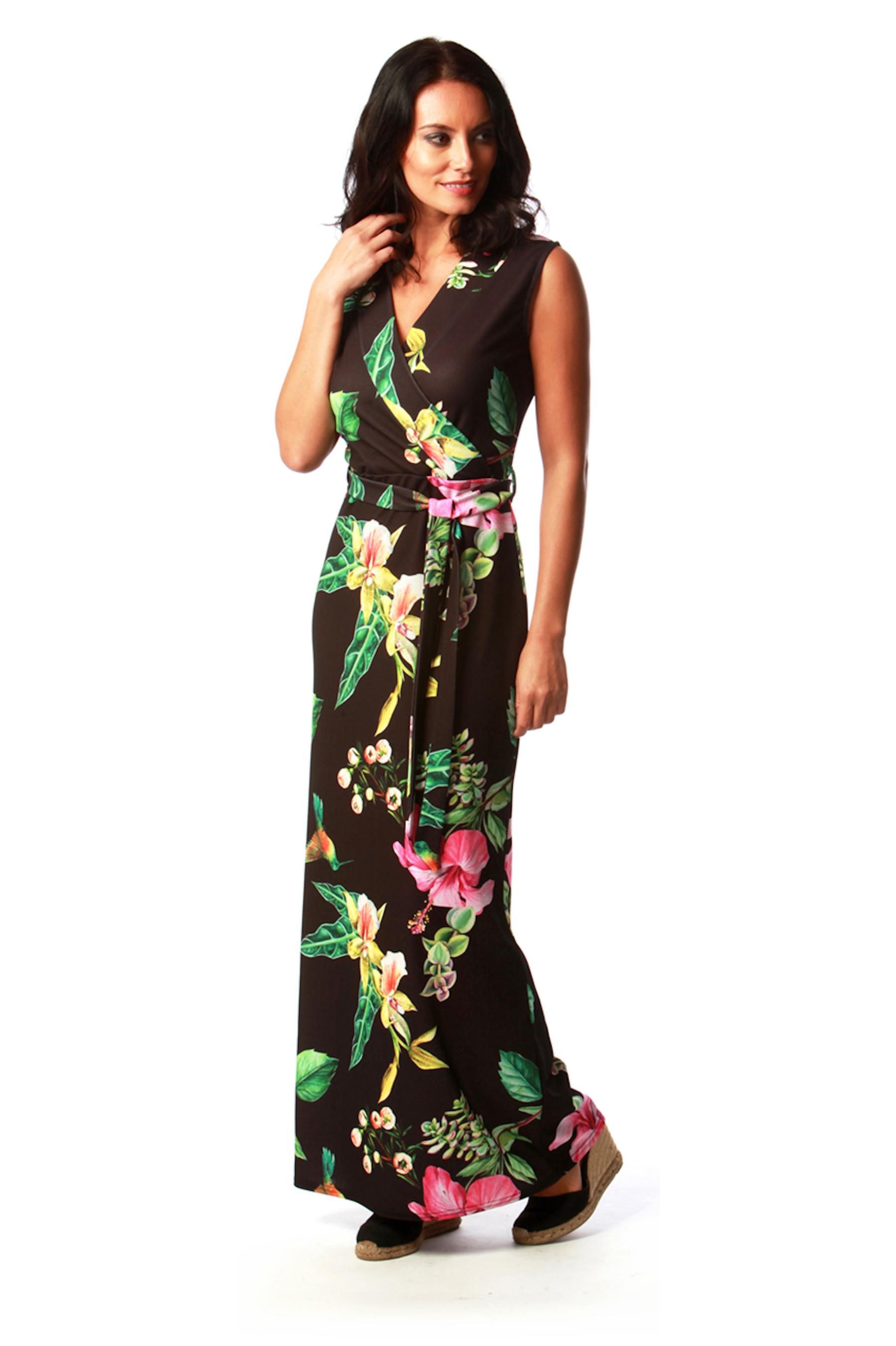 Black Oriental Maxi Dress
