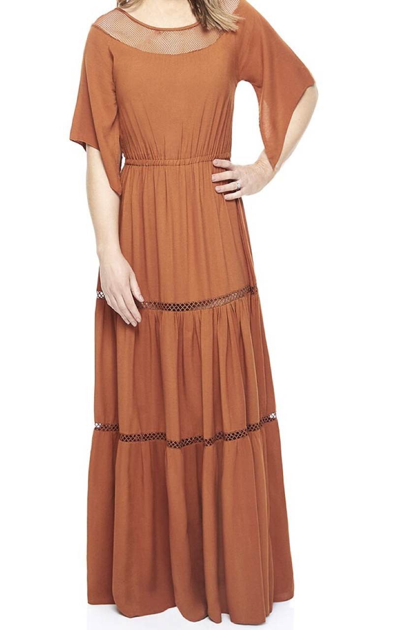 Burnt Orange Mesh Maxi Dress