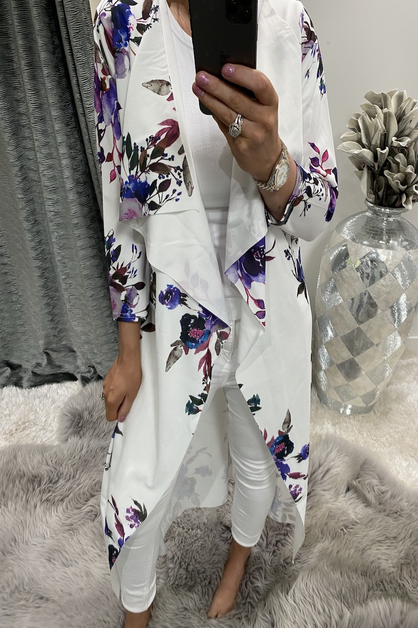 Elin White Floral Long Waterfall Cardigan