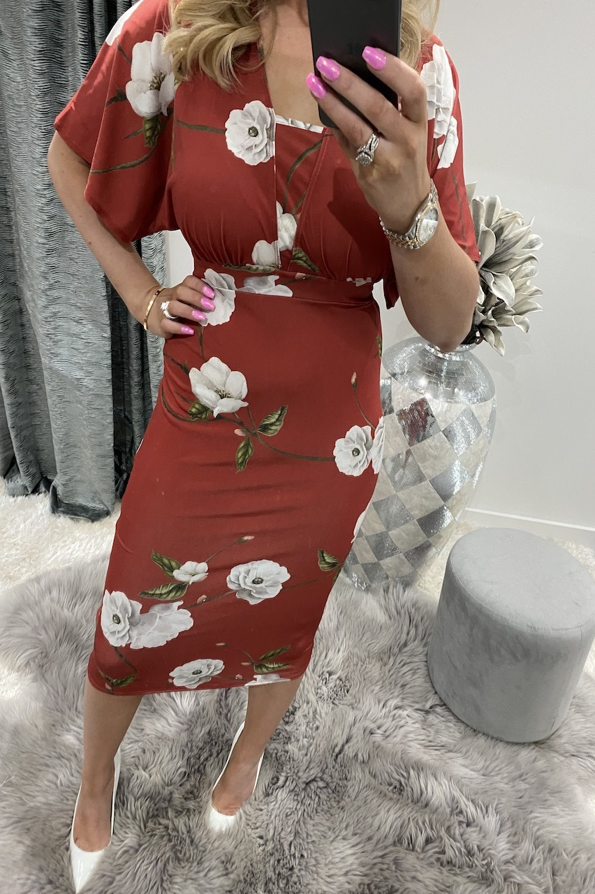 Red Kanya Floral Bodycon Dress