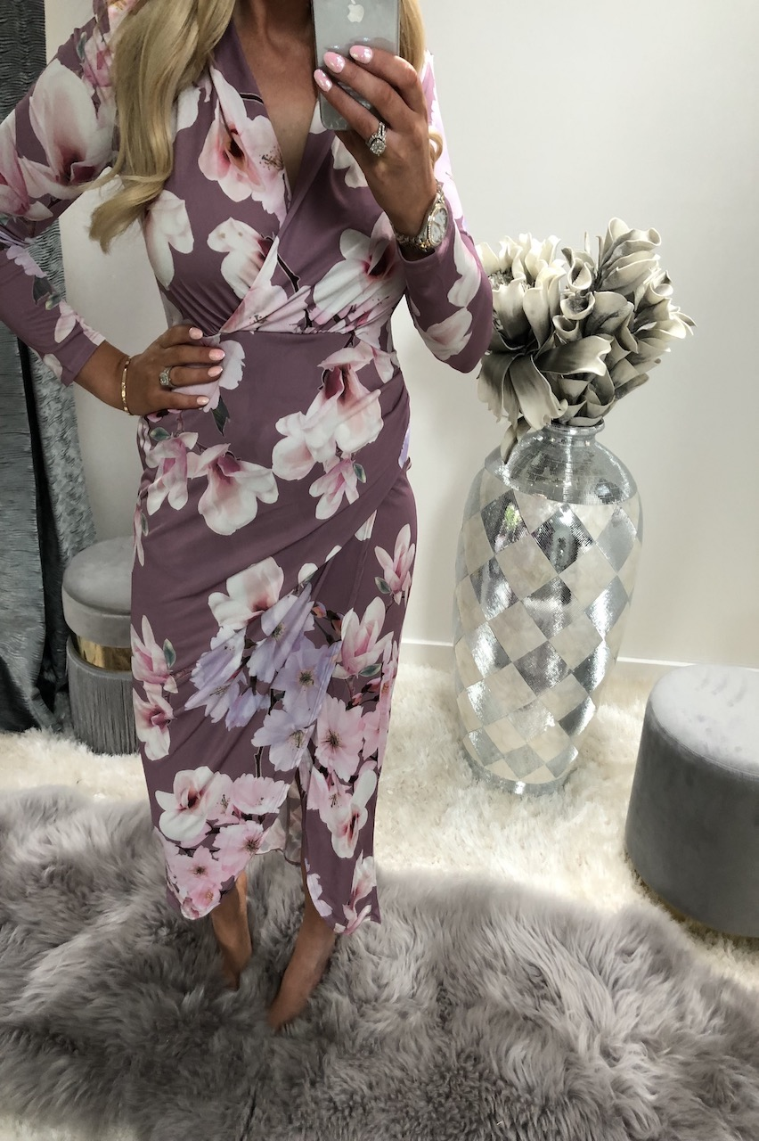 Katie Piper Pink Lieu Floral Midi Dress
