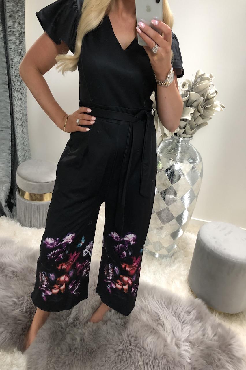 Black Telissa Floral Jumpsuit