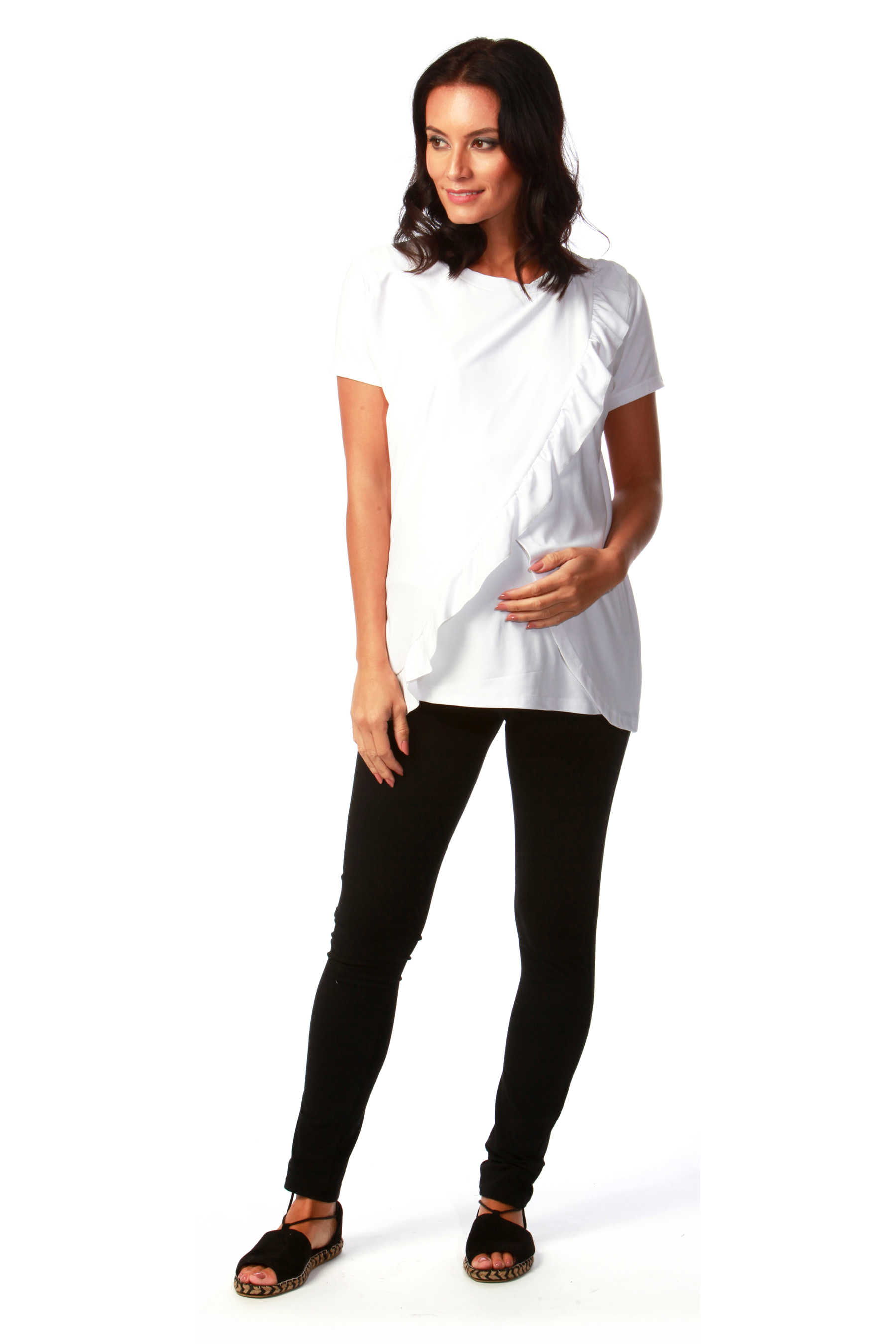 White Frill Maternity Top