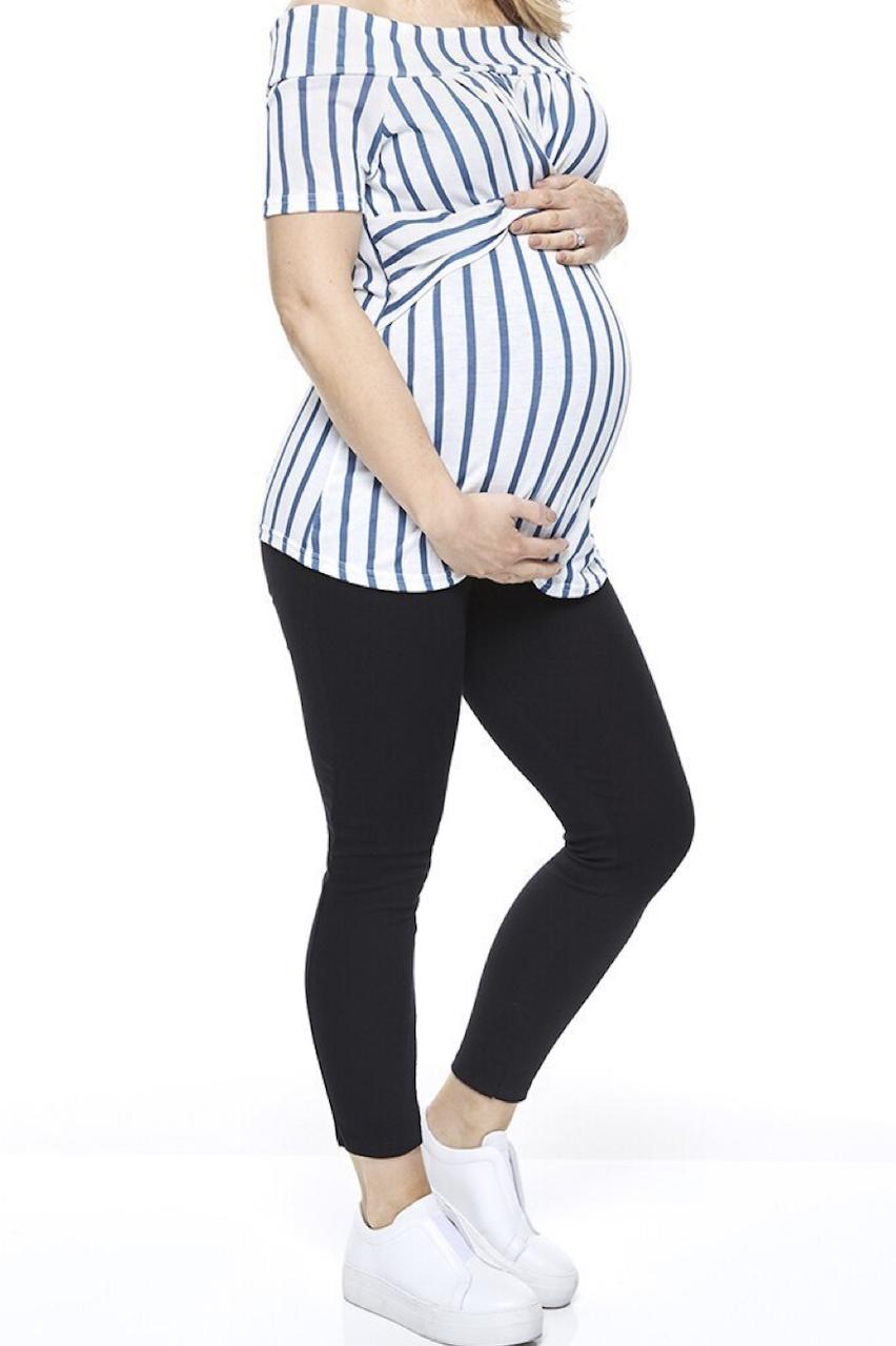 Stripe Bardot Maternity Top
