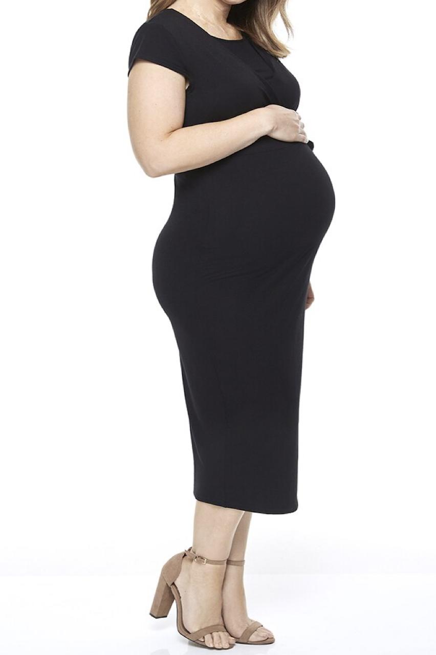 Maternity Black Tie Front Breastfeeding Midi Dress