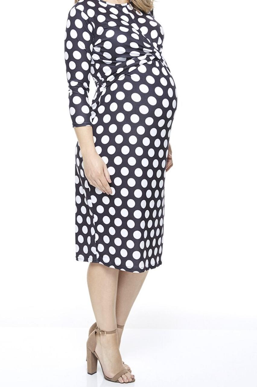 Maternity Black Polka Dot Twist Front Bodycon Dress