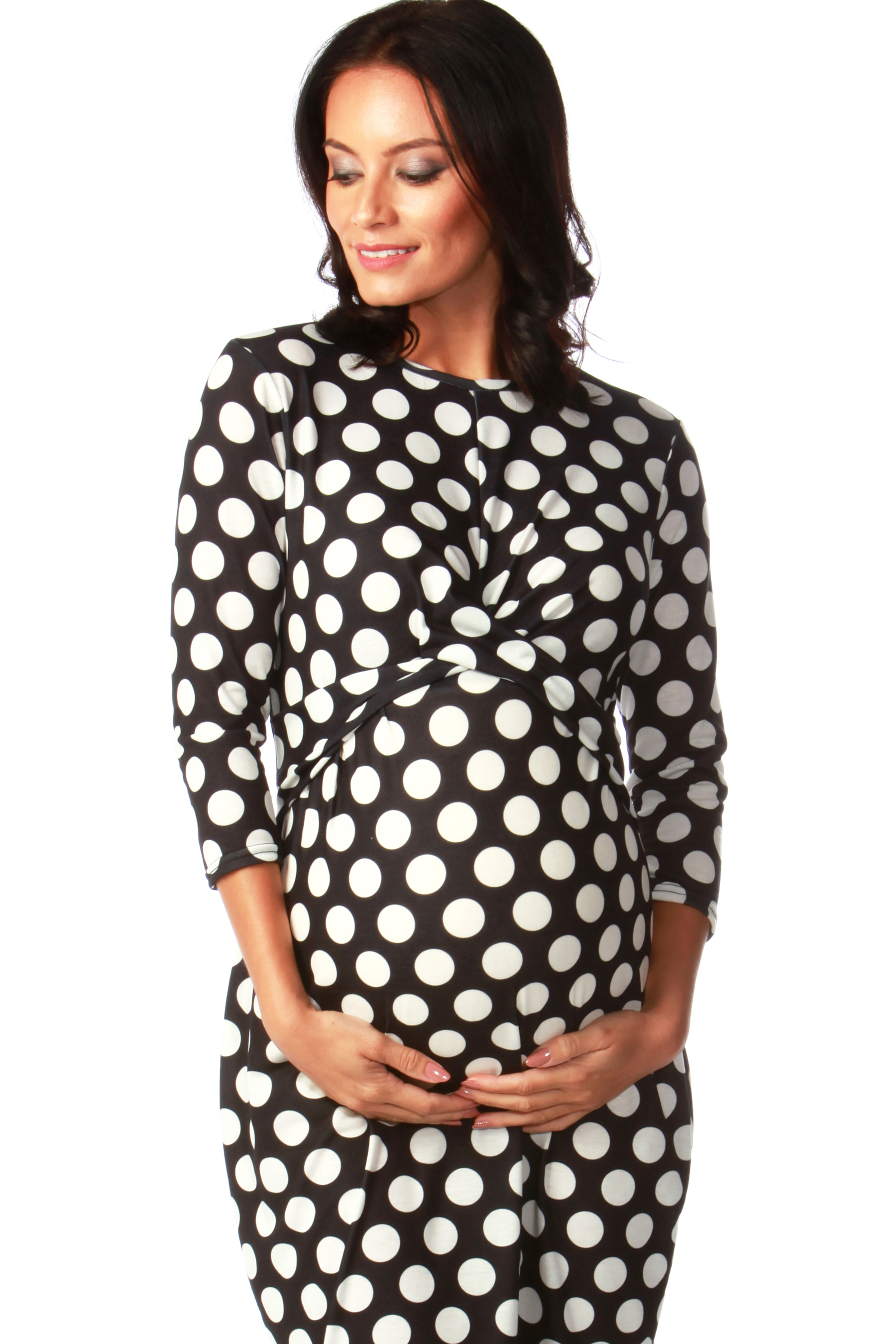 Maternity Black Polka Dot Twist Front Bodycon Dress