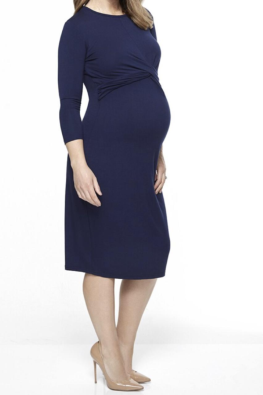 Maternity Navy Twist Front Bodycon Dress