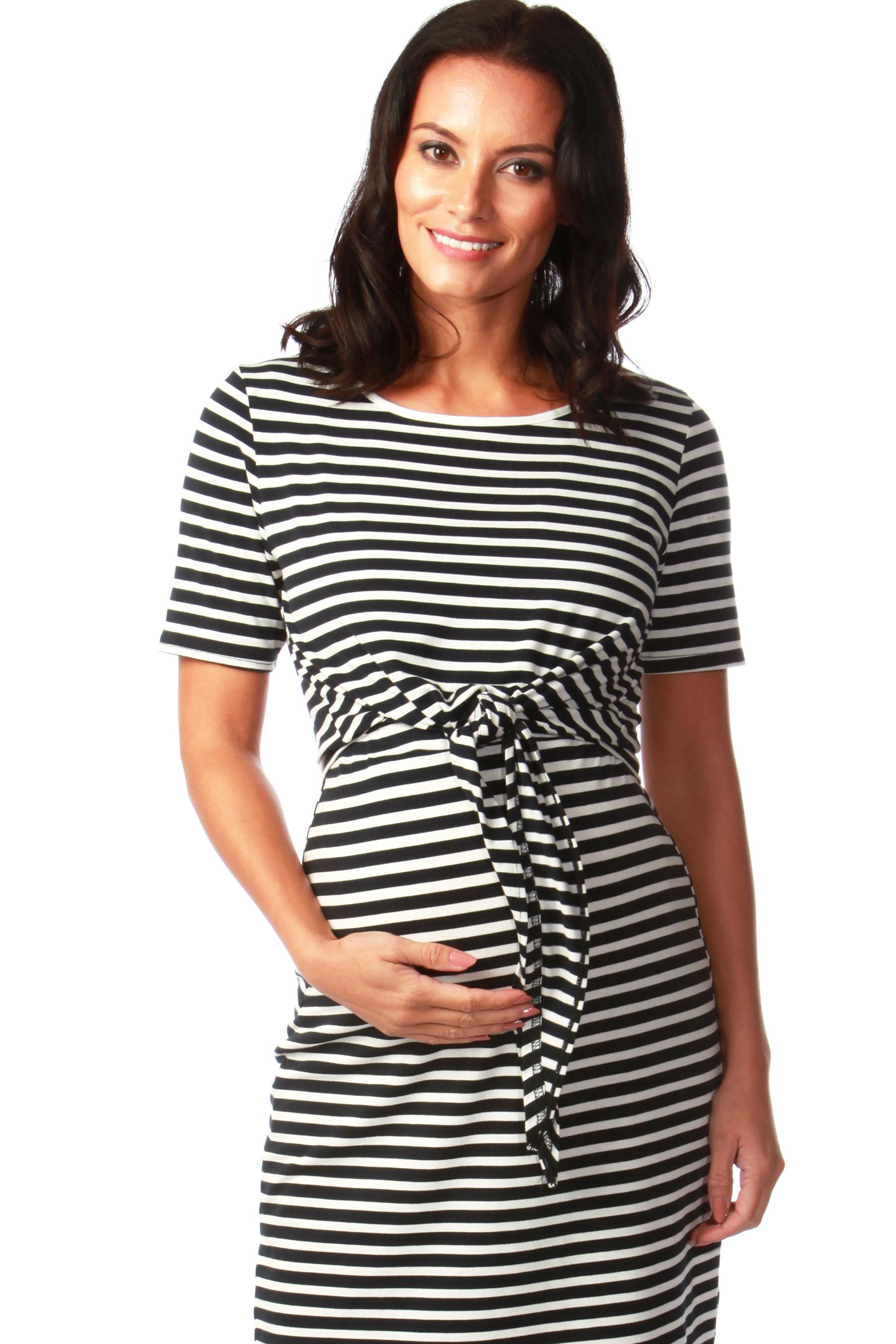 Maternity Nautical Stripe Tie Front Midi Dress