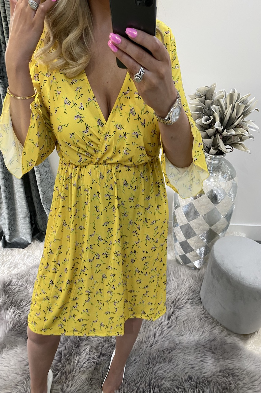 Callie Yellow Floral Wrap Skater Dress