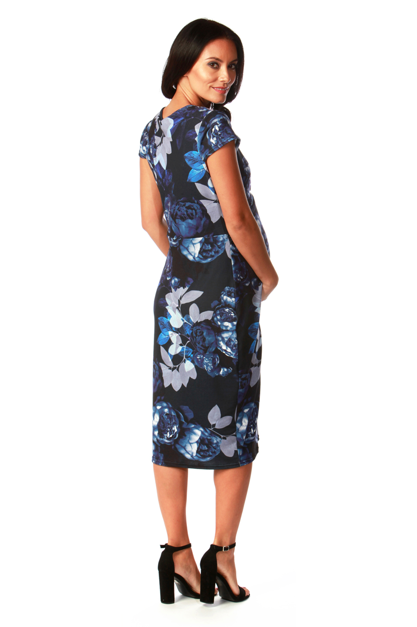 Maternity Black and Blue  Nahla Twist Front Floral Midi Dress