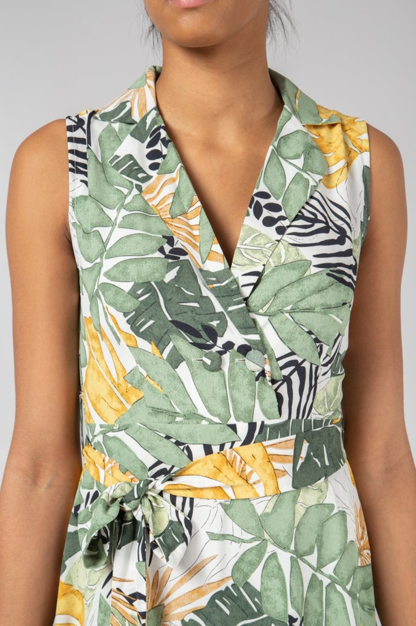 Tropical Palm Collar Wrap Maxi Dress
