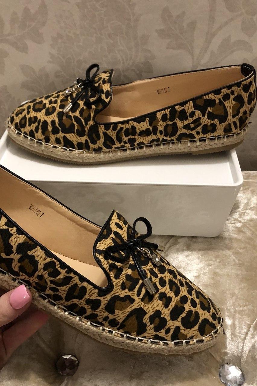 Leopard Print Espadrilles Loafers
