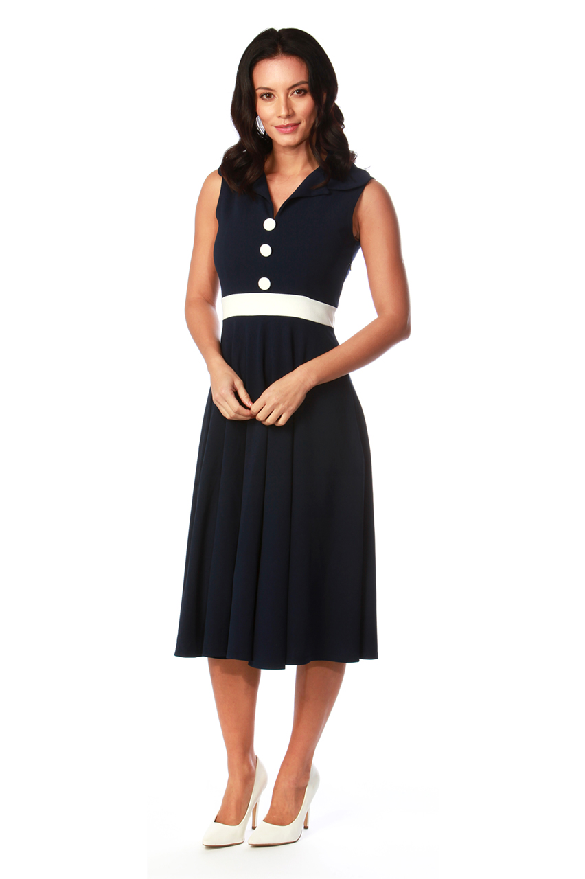 Coretta Navy Button Detail Collar Midi Dress