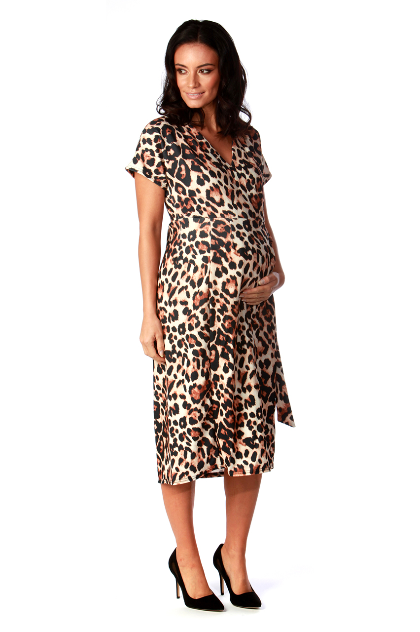 Maternity Leopard Short Sleeve Wrap Over Belted Dress