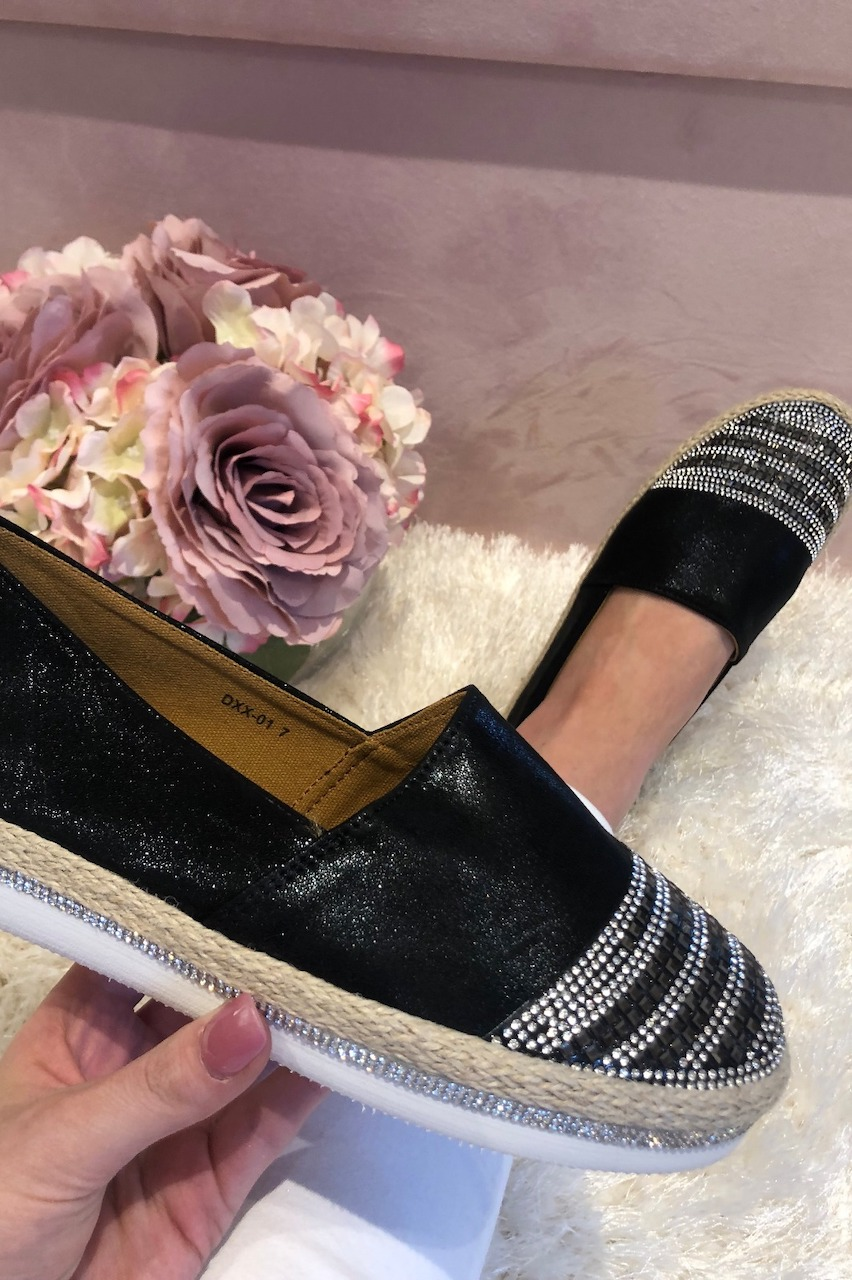 Black Shimmer Diamante Loafers