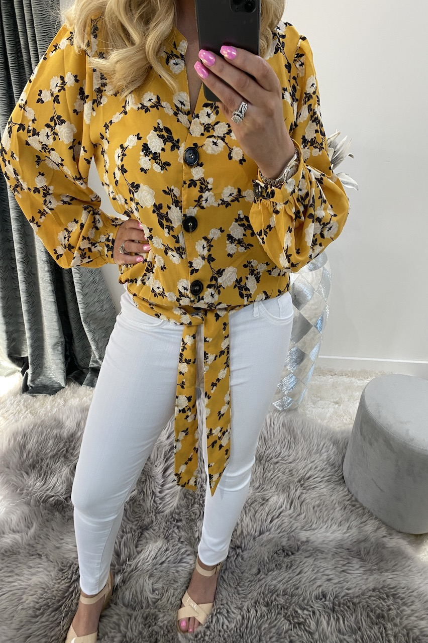 Tyra Yellow Floral Tie Front Blouse