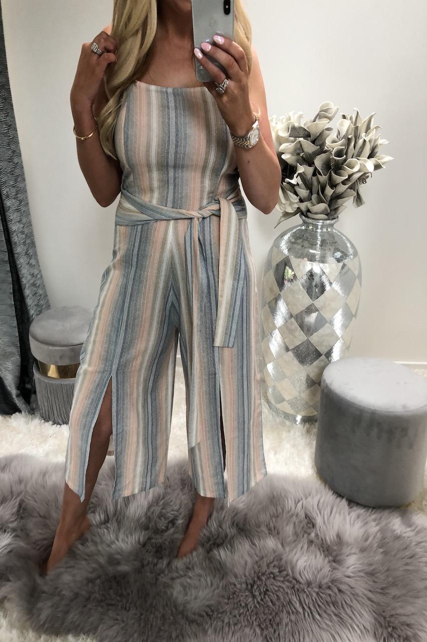 Pastel Stripe Culotte Jumpsuit with Splits