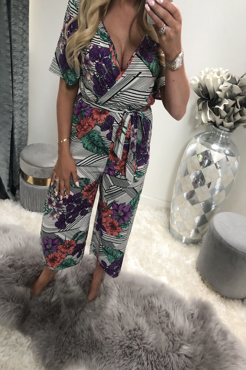 Multi Abstract Floral Culotte Jumpsuit