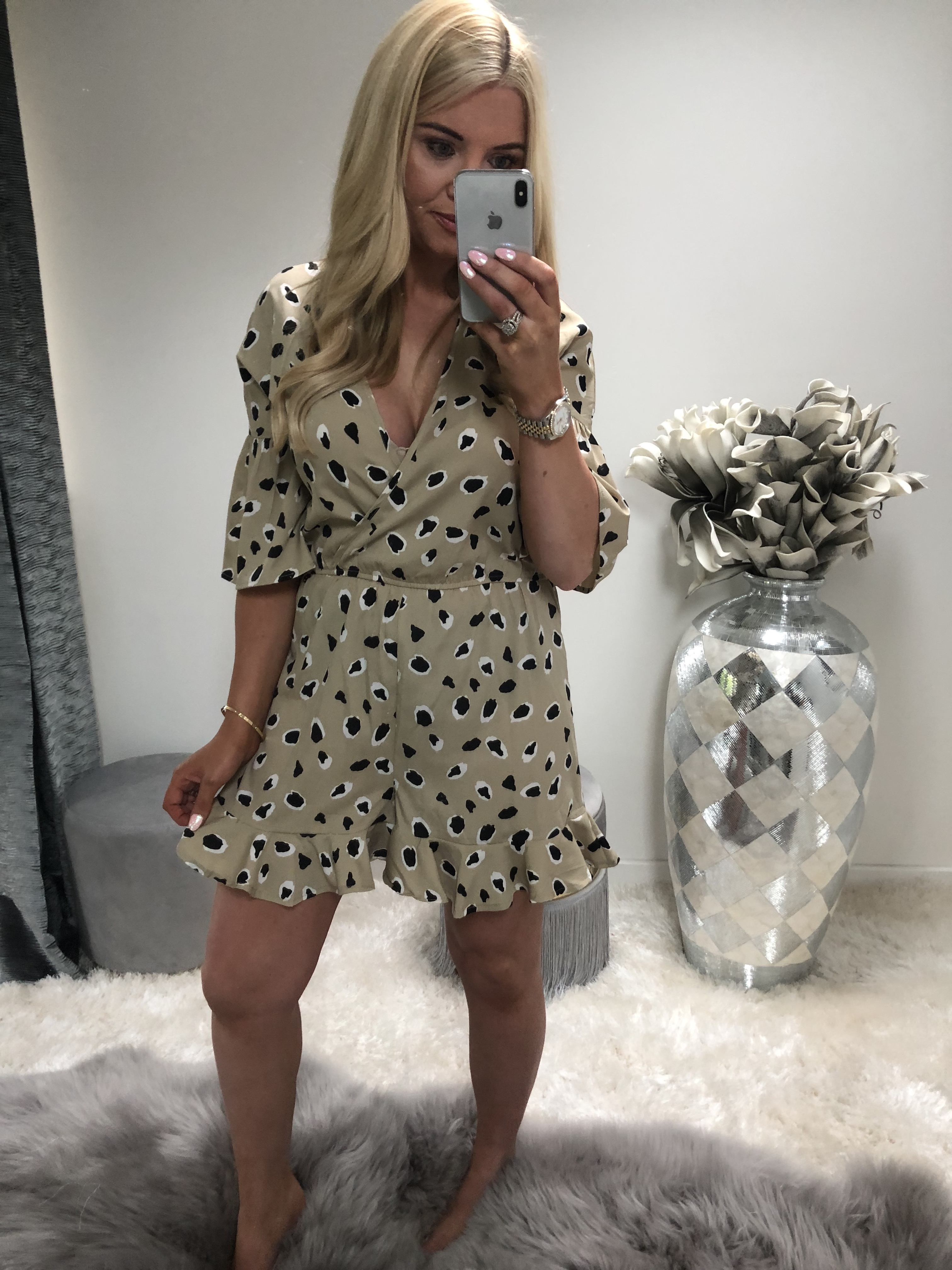 Stone Abstract Animal Wrap Playsuit