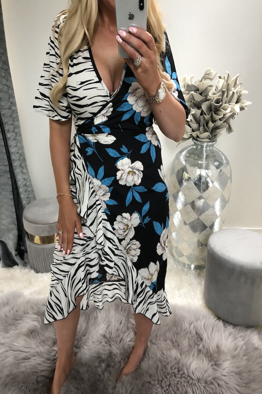 Navy Mix & Match Zebra & Floral Print Midi Dress