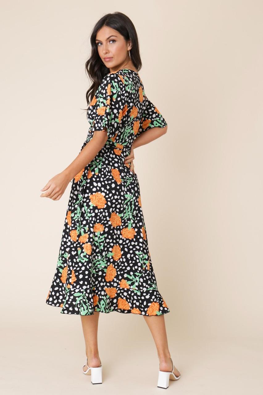 Black Floral & Spot Midi Dress