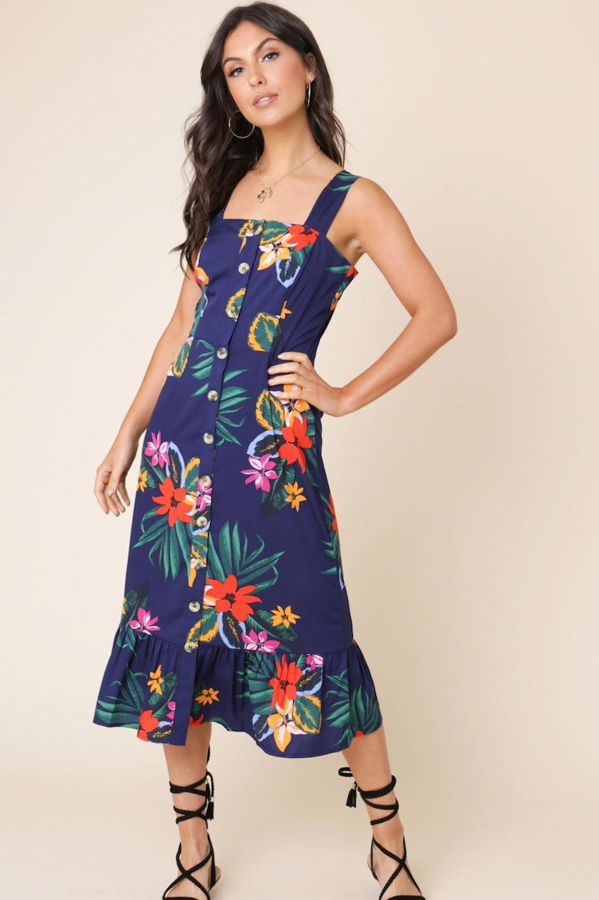 Navy tropical Print Button Down Midi Dress
