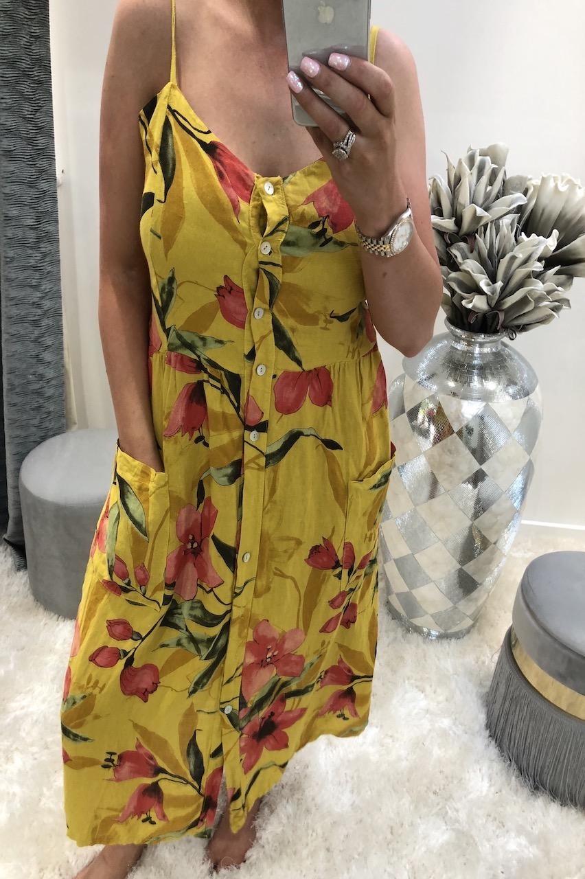 Mustard Torlana Midi Dress