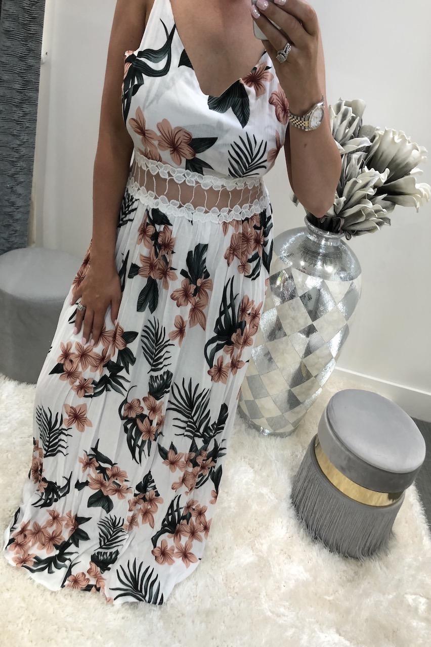 White Casabella Cut Out Maxi Dress