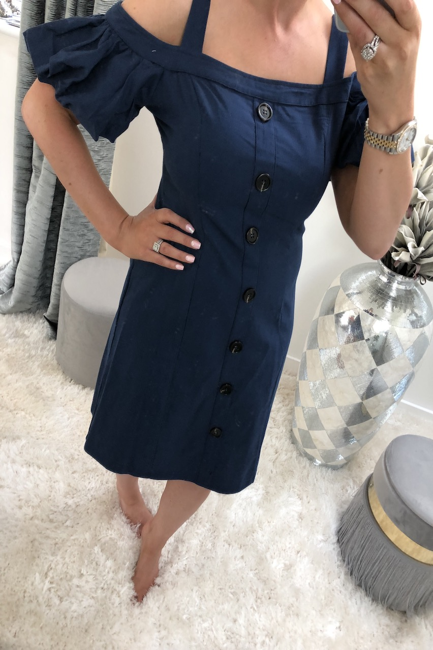 Avienna Blue Button Detail Dress