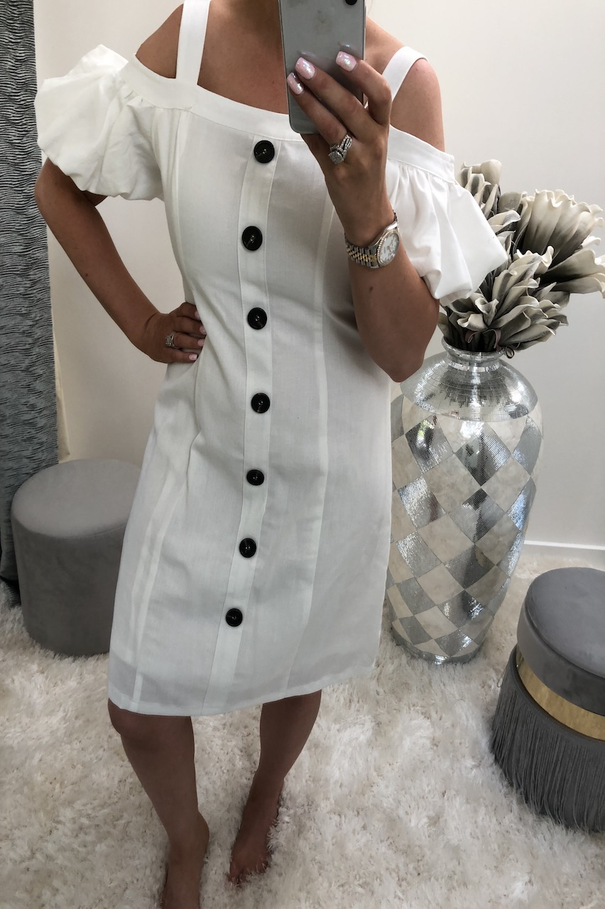 Avienna White Button Detail Dress