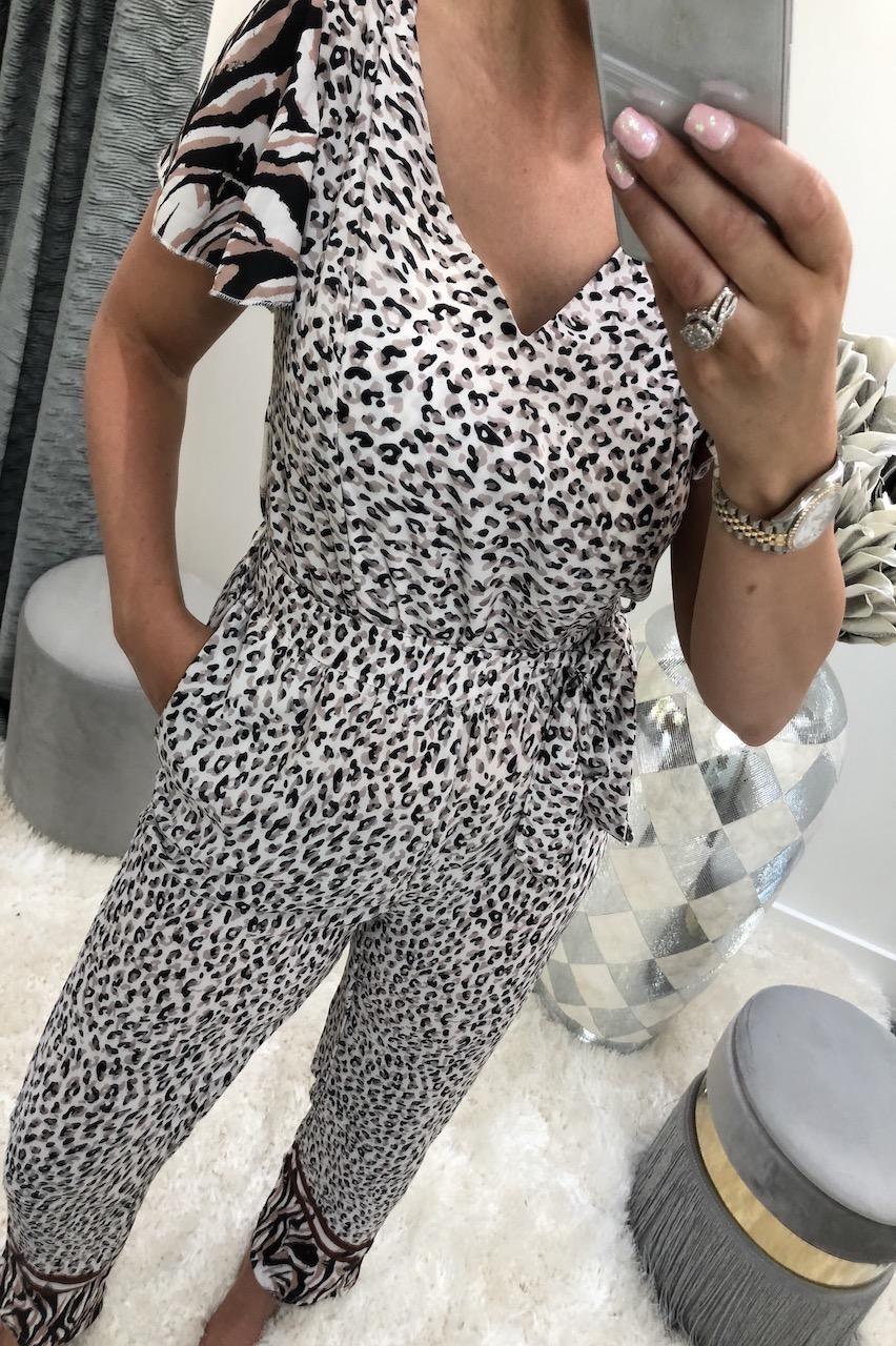 Beige Mya Animal Print Jumpsuit