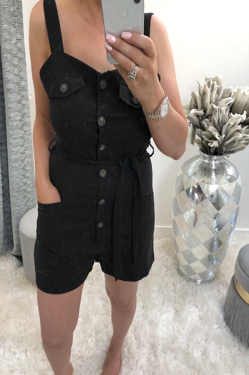 Lia Black Button Front Playsuit