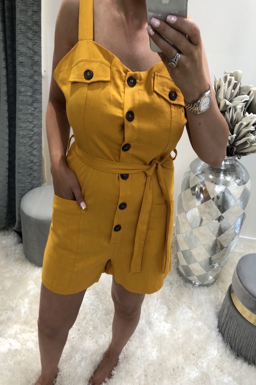 Lia Mustard Button Front Playsuit