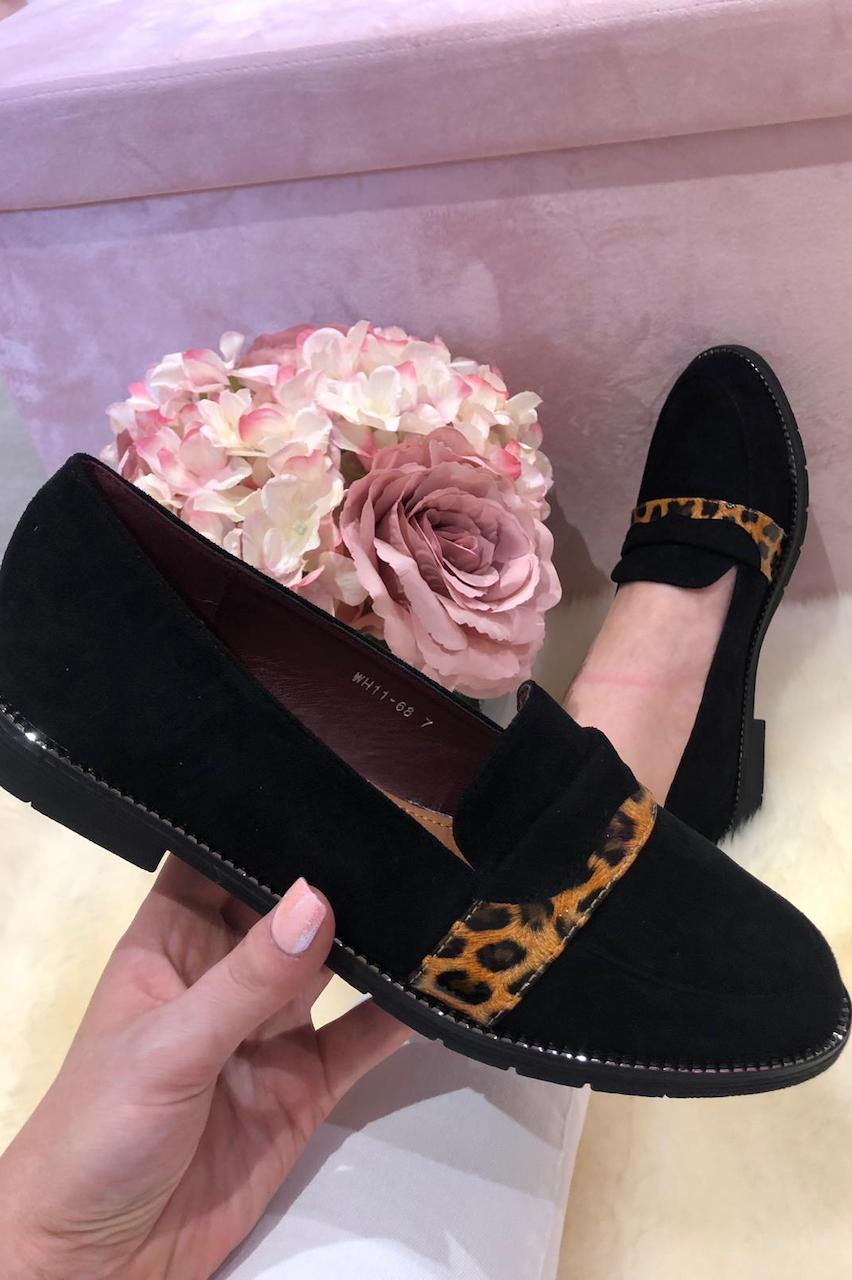 Black Suede Loafers with  Leopard Stripe