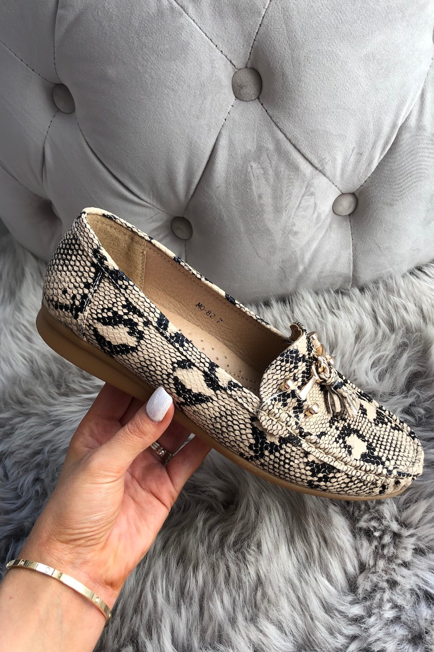 Gold Snake Tassel Loafers